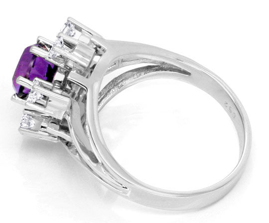 Foto 3, Brillantring Super Amethyst 6 Diamanten 18K Gold Luxus!, S3765