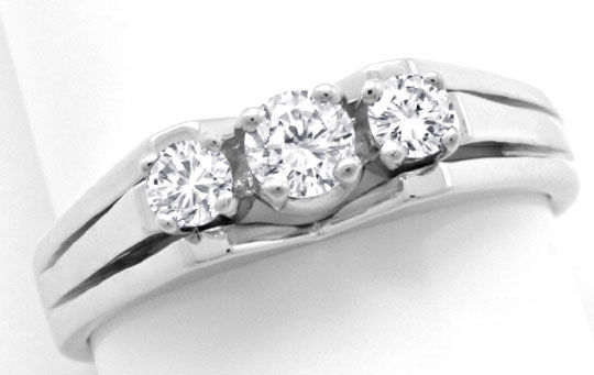 Foto 2 - Weissgoldring 3 Diamanten Brillanten Brillianten Luxus!, S3766