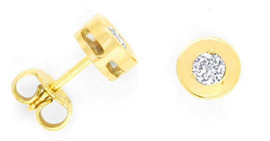 Foto 1 - Ohrringe Zargenohrstecker 0,35ct Brillanten Gold Luxus!, S3767
