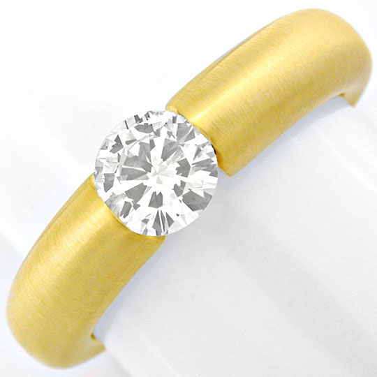 Foto 2, Diamant Spann Ring, Brillant 0,57ct 18K Gelb Luxus! Neu, S3818
