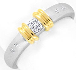 Foto 1, Bicolor Gold Ring Brillianten Gelbgold Weissgold Luxus!, S3825