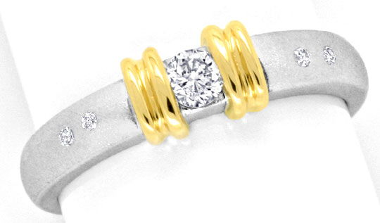 Foto 2, Bicolor Gold Ring Brillianten Gelbgold Weissgold Luxus!, S3825