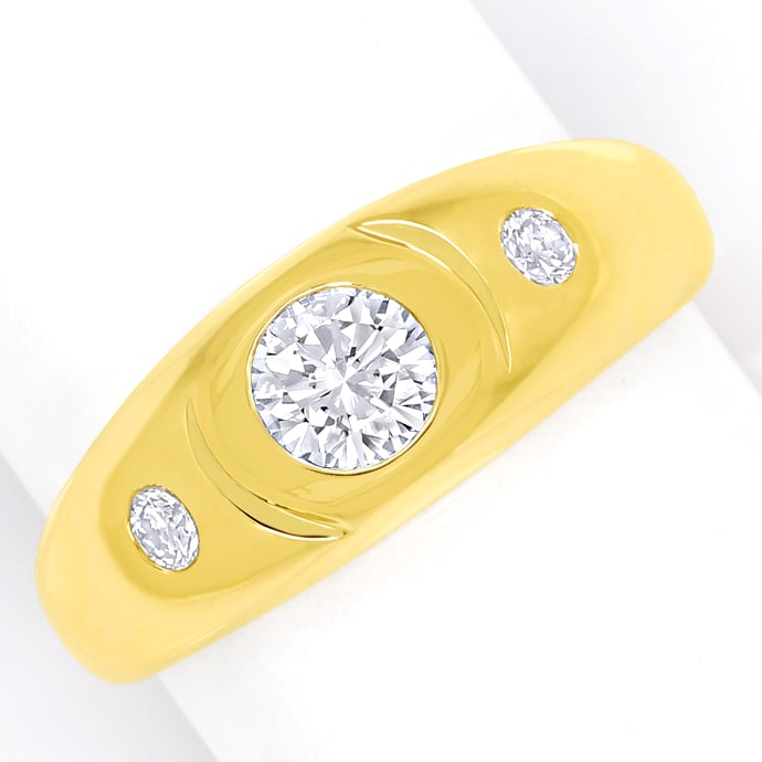 Lupenreiner 1ct Brillant und 0,2ct in Herrengoldring, Designer Ring
