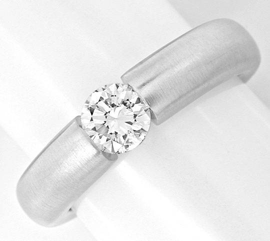 Foto 2, Brillant Spann Ring Diamant 0,50ct 18K Weissgold Luxus!, S3856