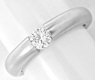 Foto 1, Brillant-Spann-Ring Diamant 0,33ct 18K-Weissgold Luxus!, S3858