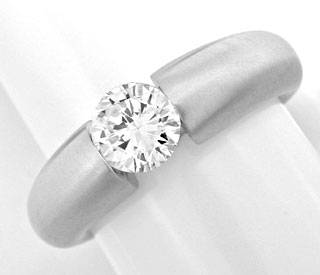 Foto 1, Brillant Spann Band Ring Wg, 0.83ct Diamant Luxus! Neu!, S3868