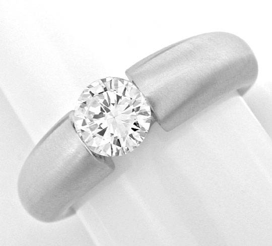 Foto 2, Brillant Spann Band Ring Wg, 0.83ct Diamant Luxus! Neu!, S3868