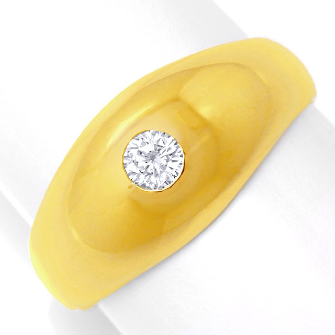 Diamant Bandring massiv Gelbgold 0,21ct Brillant Luxus!, Designer Ring
