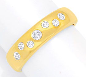 Foto 1, Gold Bandring mit 7 Diamanten, Brillanten, River Luxus!, S3887