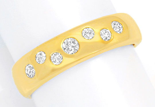 Foto 2, Gold Bandring mit 7 Diamanten, Brillanten, River Luxus!, S3887
