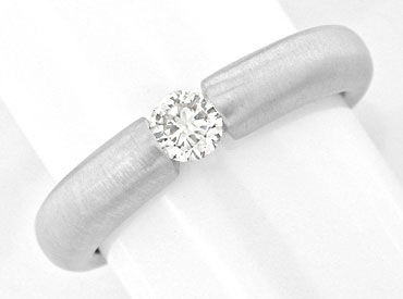 Foto 1, Brillant Spann Ring 0,20ct Diamant 18K Weissgold Luxus!, S3901