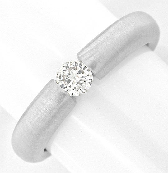 Foto 2, Brillant-Spann-Ring 0,20ct Diamant 18K Weissgold Luxus!, S3901