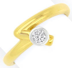 Foto 1, Designer-Brilliant-Diamant-Ring Gelbgold Weissgold Shop, S3923
