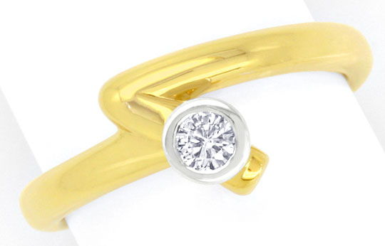 Foto 2, Designer-Brilliant-Diamant-Ring Gelbgold Weissgold Shop, S3923