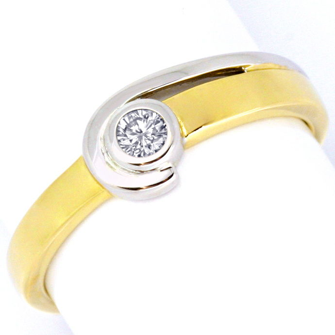 Designer Brillant Diamant Ring 0.10 Carat, 14Karat Gold, Designer Ring