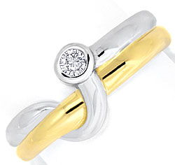 Foto 1, Brillant-Diamant-Ring Top-Design 14K Bicolor 0,08 Carat, S3925