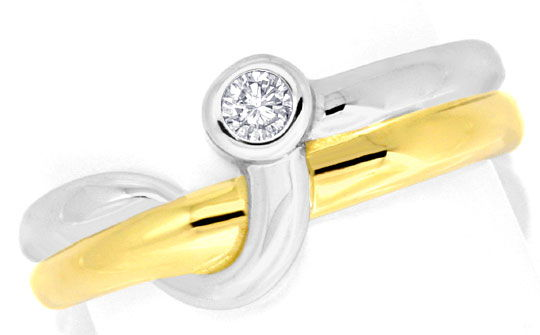 Foto 2 - Brillant Diamant Ring Top Design 14K Bicolor 0,08 Carat, S3925