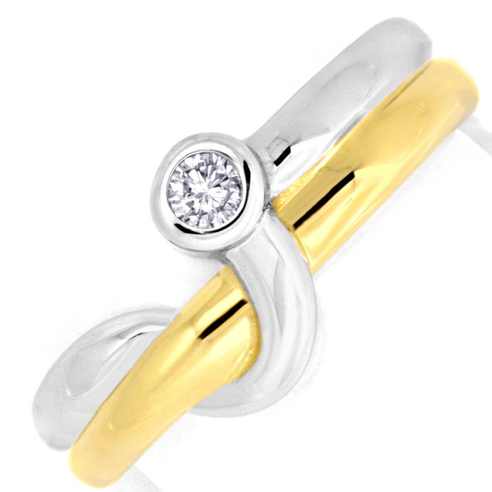 Brillant Diamant Ring Top Design 14K Bicolor 0,08 Carat, Designer Ring