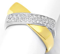 Foto 1, Brillant-Diamant-Ring Super-Design Gelb-Gold Weiss-Gold, S3936