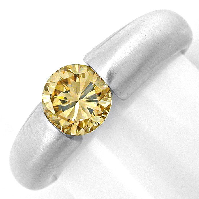 Brillant Spann Ring 1,38ct Champagner Egl Schmuck Neu!!, Designer Ring