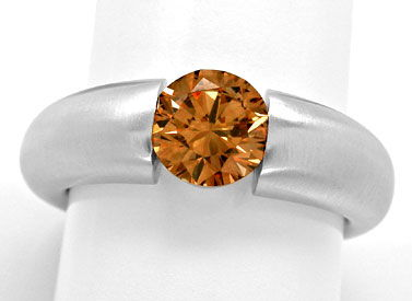 Foto 1, Diamant Spann Ring 1,26ct Orangy Brown SI1 Schmuck Neu!, S3944