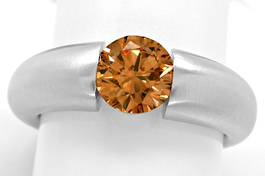 Foto 2, Diamant Spann Ring 1,26ct Orangy Brown SI1 Schmuck Neu!, S3944