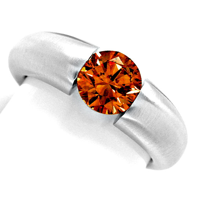 Diamant Spann Ring 1,26ct Orangy Brown SI1 Schmuck Neu!, Designer Ring