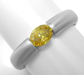 Foto 1, Spann Ring 0,56 Diamant Intensiver Fancy Orangy Goldton, S3958
