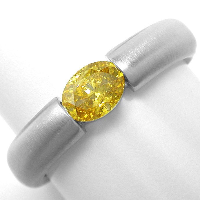 Spann Ring 0,56 Diamant Intensiver Fancy Orangy Goldton, Designer Ring