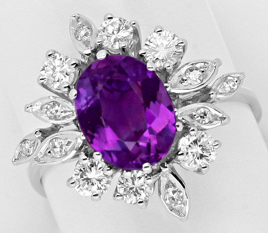 Foto 2, Amethyst Brillanten Diamanten Gold Ring, 18K Weiss Gold, S3964