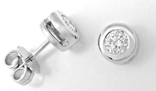 Foto 1, Brillant Ohrstecker, 0,44ct Diamanten 18K Wg Luxus! Neu, S3967