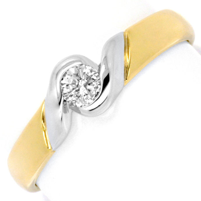 Brillant Diamant Ring Top Modern 14K Gold, 0.16 Solitär, Designer Ring
