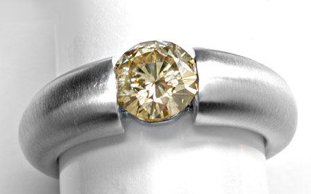 Foto 1, 1,04ct Natural Light Yellowish Brown, Spann-Ring Luxus!, S3978