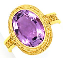Foto 1, Feinster alter Handarbeits-Goldring mit Amethyst Luxus!, S3980