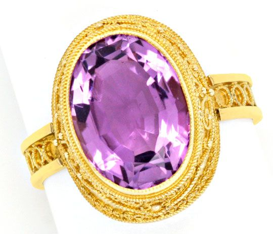 Foto 2, Feinster alter Handarbeits Goldring mit Amethyst Luxus!, S3980