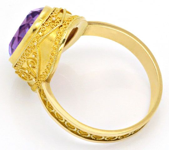 Foto 3, Feinster alter Handarbeits Goldring mit Amethyst Luxus!, S3980