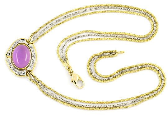 Foto 1, Amethyst Brillanten-Diamanten-Kollier -Collier 14K Gold, S4010
