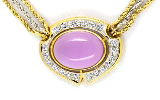 Foto 2, Amethyst Brillanten-Diamanten-Kollier -Collier 14K Gold, S4010