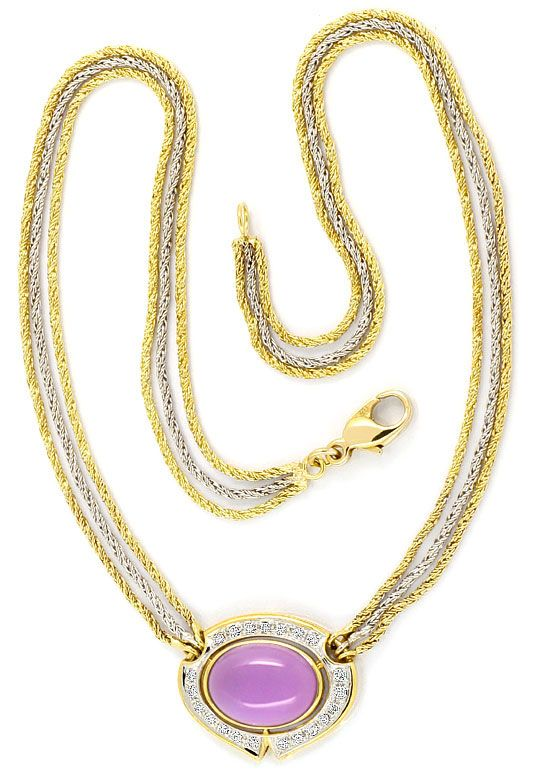 Foto 3, Amethyst Brillanten-Diamanten-Kollier -Collier 14K Gold, S4010