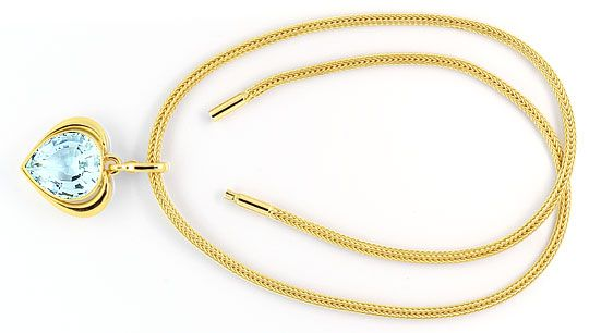 Foto 1, Super Riesen Aquamarin Kollier Collier 18,5ct Gelb Gold, S4013