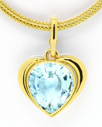 Foto 2, Super Riesen Aquamarin Kollier Collier 18,5ct Gelb Gold, S4013