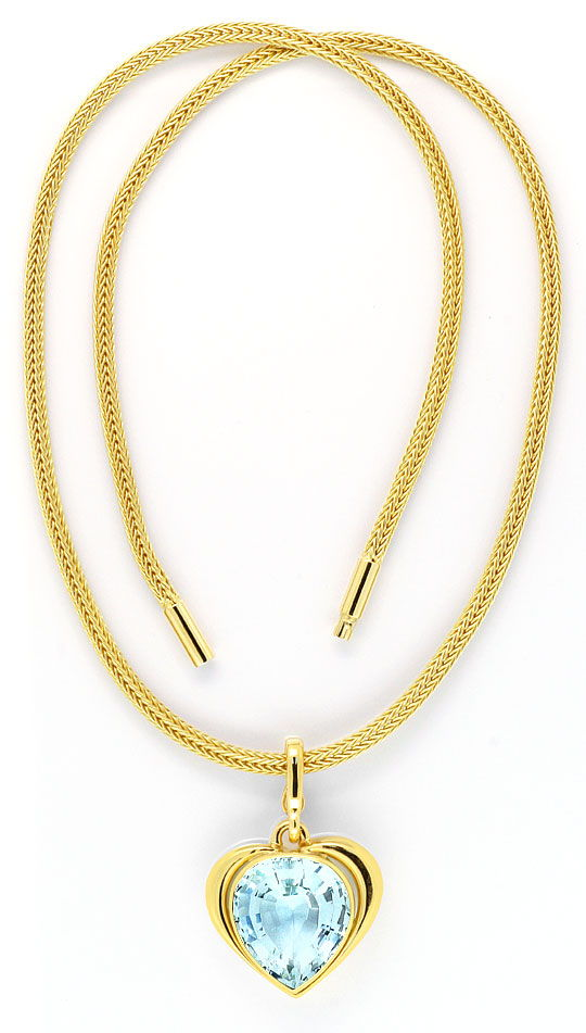 Foto 3, Super Riesen Aquamarin Kollier Collier 18,5ct Gelb Gold, S4013