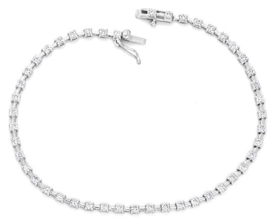 Foto 1, Brillant Diamant Tennis Armband 1ct 46St, 18K Weissgold, S4015