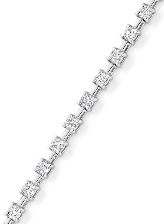 Foto 2, Brillant Diamant Tennis Armband 1ct 46St, 18K Weissgold, S4015