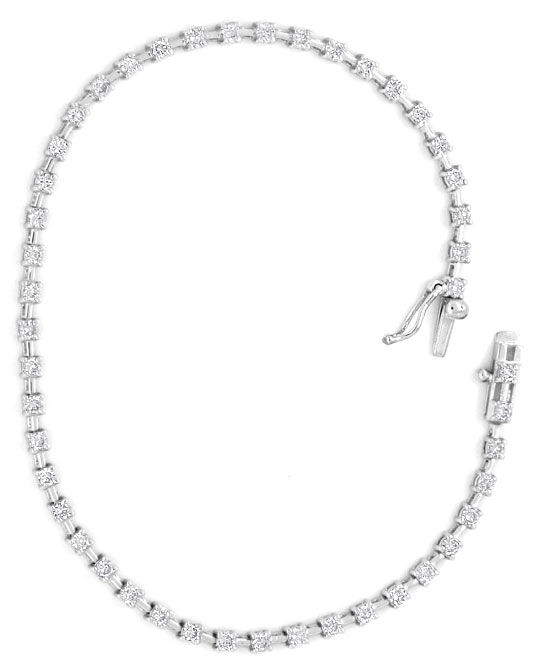Foto 4, Brillant-Diamant-Tennis-Armband 1ct 46St, 18K Weissgold, S4015