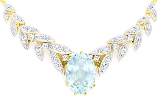Foto 2, 6.1 ct Spitzen Aquamarin Brilliant Diamant Gold Kollier, S4029