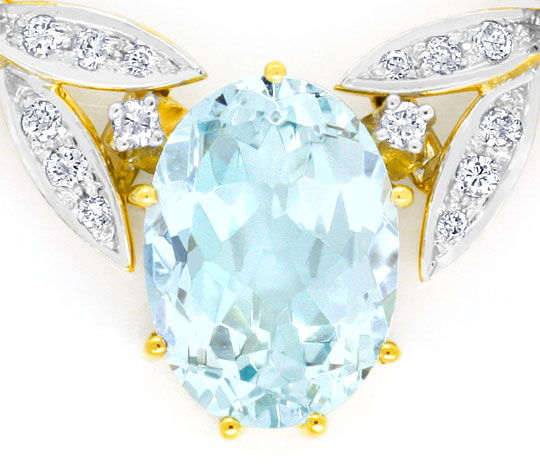 Foto 3, 6.1 ct Spitzen Aquamarin Brilliant Diamant Gold Kollier, S4029