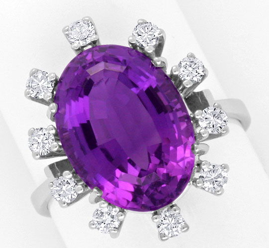 Foto 2, Amethyst Brilliant Ring Weissgold 0,41 River Brillanten, S4063