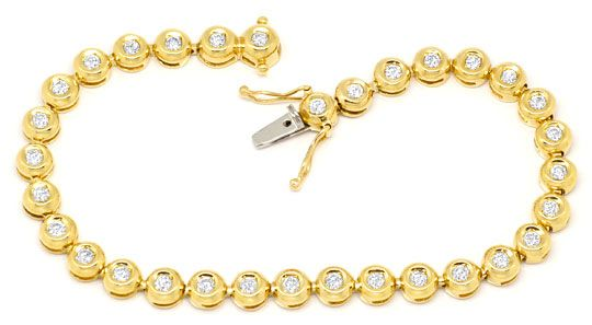 Foto 1 - Brillanten Tennis Gold Armband 2,0 ct in Zargen Gefasst, S4085