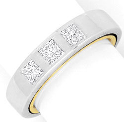 Foto 1, Ring Princess Diamanten 18K Bi Color Gelbgold Weissgold, S4097